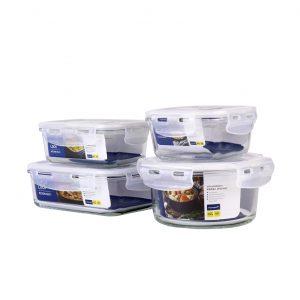 Super Lock กล่องข้าว กล่องถนอมอาหารกลางวัน กล่องถนอมอาหาร รุ่น Glass 6088 SET 8 ชิ้นรวมฝา รุ่น 6089-08