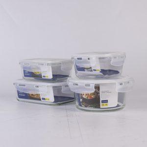กล่องข้าว กล่องอาหารกลางวัน กล่องถนอมอาหาร รุ่น Glass 6088 SET 8 ชิ้นรวมฝา Super Lock #6089-08