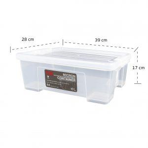 MicronWare กล่องอเนกประสงค์ พร้อมฝาล็อค (ซ้อนได้) 10 ลิตร 28x41x14 ซม. สีขาว รุ่น 6651