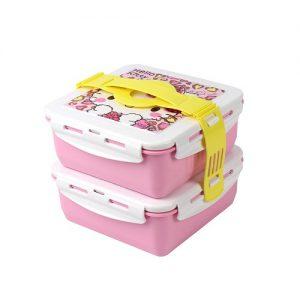 Super Lock ชุดกล่องอาหาร ปิ่นโตสองชั้น ลายลิขสิทธิ์แท้ Hello Kitty สีชมพู + ชมพู ปราศจากสารก่อมะเร็ง (BPA Free) รุ่น 5011-B