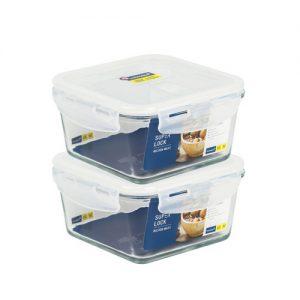 Super Lock Glass Set ชุดกล่องถนอมอาหารแก้ว แพ็ค 2 กล่อง ขนาด 900 มล. รุ่น 6086