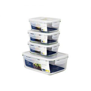 Super Lock Glass Set ชุดกล่องถนอมอาหารแก้ว แพ็ค 4 กล่อง ขนาด 350 และ 1,500 มล. รุ่น 6090-S6A