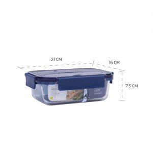 Super lock กล่องแก้วถนอมอาหาร มีช่องแบ่ง 2 ช่อง พร้อมช้อนส้อม ปราศจากสารก่อมะเร็ง (BPA Free) รุ่น 6092