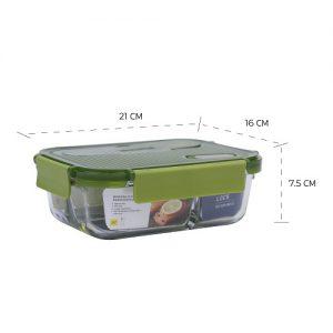 Super Lock กล่องใส่อาหารแก้ว มีช่องแบ่ง 3 ช่อง พร้อมช้อนส้อม ความจุ 1800 มล. ปราศจากสารก่อมะเร็ง (BPA Free) รุ่น 6093