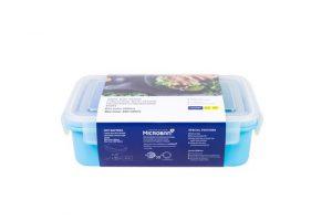Super Lock กล่องอาหาร พร้อมช้อนสั้น ช่องแบ่งสัดส่วน 2 ช่อง ล็อก 2 ชั้น ปราศจากสารก่อมะเร็ง (BPA Free) สีฟ้า รุ่น 6097