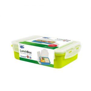 Super Lock กล่องอาหาร พร้อมช้อนสั้น ช่องแบ่งสัดส่วน 2 ช่อง ล็อก 2 ชั้น ปราศจากสารก่อมะเร็ง (BPA Free) สีเขียว รุ่น 6097