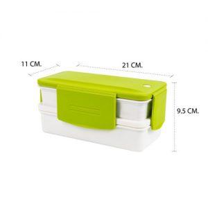 Super Lock กล่องอาหาร 2ชั้น ปราศจากสารก่อมะเร็ง (BPA Free) สีีเขียว รุ่น 6098