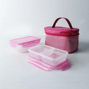 Super Lock กล่องอาหารพร้อมกระเป๋า เซท 4 ชิ้น รวมฝา ปราศจากสารก่อมะเร็ง (BPA Free) รุ่น NO11-LLL