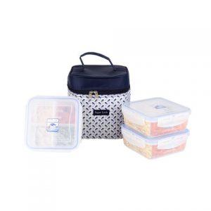 Super Lock กล่องถนอมอาหาร พร้อมกระเป๋าเก็บความร้อน (คละลาย) เซท 6 ชิ้น รวมฝา (3 กล่อง)รุ่น 5011-DDD