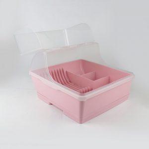 Micronware ที่คว่ำจาน มีฝาปิด ปราศจากสารก่อมะเร็ง (BPA Free) สีชมพู รุ่น 5588
