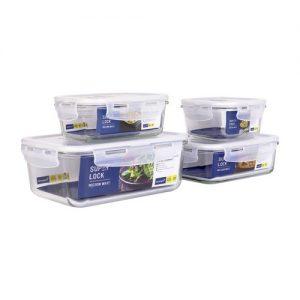 Super Lock Glass Set ชุดกล่องถนอมอาหารแก้ว รุ่น 6090-S08 ขนาด 350, 400, 800 และ 1,500 มล.