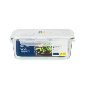 Super Lock กล่องถนอมอาหารแก้ว ทรงผืนผ้า รุ่น 6090 1,500 มล. BPA Free เข้าไมโครเวฟได้ เข้าเตาอบได้