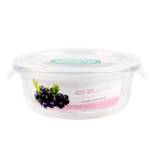 Micronware กล่องใส่อาหารแก้ว ทรงกลม รุ่น 6381 400 มล. ป้องกันแบคทีเรีย BPA Free เข้าไมโครเวฟได้ เข้าเตาอบได้ สีขาว