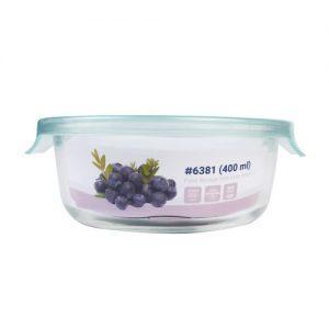 Micronware กล่องใส่อาหารแก้ว ทรงกลม รุ่น 6381 400 มล. ป้องกันแบคทีเรีย BPA Free เข้าไมโครเวฟได้ เข้าเตาอบได้ สีฟ้า