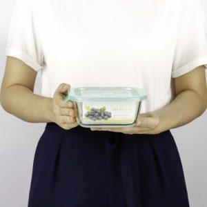 Micronware กล่องแก้วใส่อาหาร ทรงจตุรัส รุ่น 6386 800 มล. ป้องกันแบคทีเรีย BPA Free เข้าไมโครเวฟได้ เข้าเตาอบได้ สีเขียว