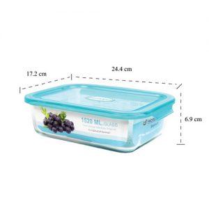 Micronware กล่องแก้วใส่อาหาร ทรงผืนผ้า รุ่น 6390 1520มล. ป้องกันแบคทีเรีย BPA Free เข้าไมโครเวฟได้ เข้าเตาอบได้