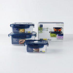 Super Lock กล่องถนอมอาหาร Tritan ใสเหมือนแก้ว 6 ชิ้น รวมฝา (3 กล่อง) รุ่น 6890 ป้องกันแบคทีเรีย BPA Free เข้าไมโครเวฟได้