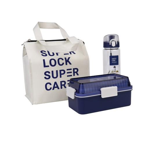 Super Lock เซ็ตกล่องอาหาร 2 ชั้น และกระบอกน้ำ พร้อมกระเป๋า ปราศจากสารก่อมะเร็ง (BPA Free) รุ่น 6195-PPP